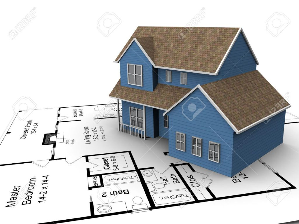3720226-New-build-house-on-a-set-of-building-plans-Stock-Photo-construction